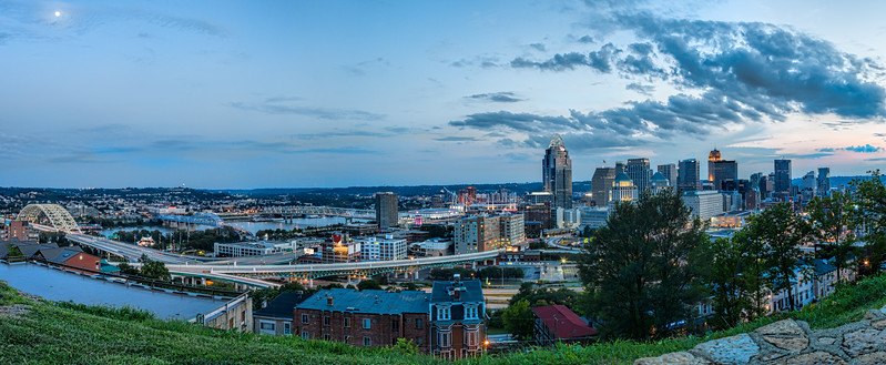 Panorama of Cincinnati Skyline at Sunset