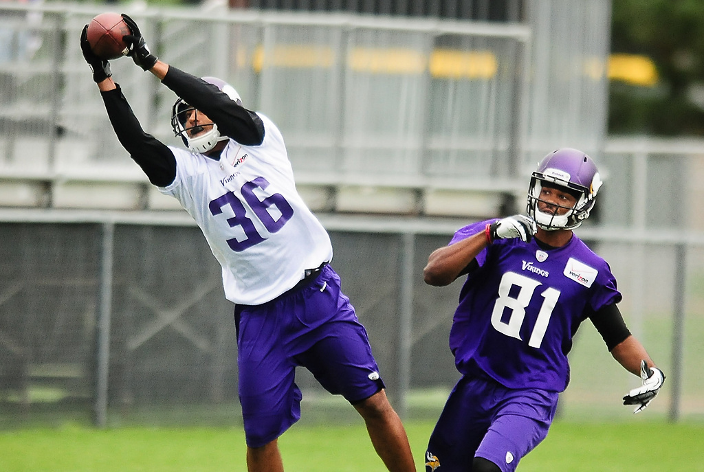 . Minnesota Vikings safety Robert Blanton reaches to intercept a pass from wide receiver Jerome Simpson at Vikings training camp in Mankato, Minn., on Friday, July 26, 2013. (Pioneer Press: Ben Garvin)