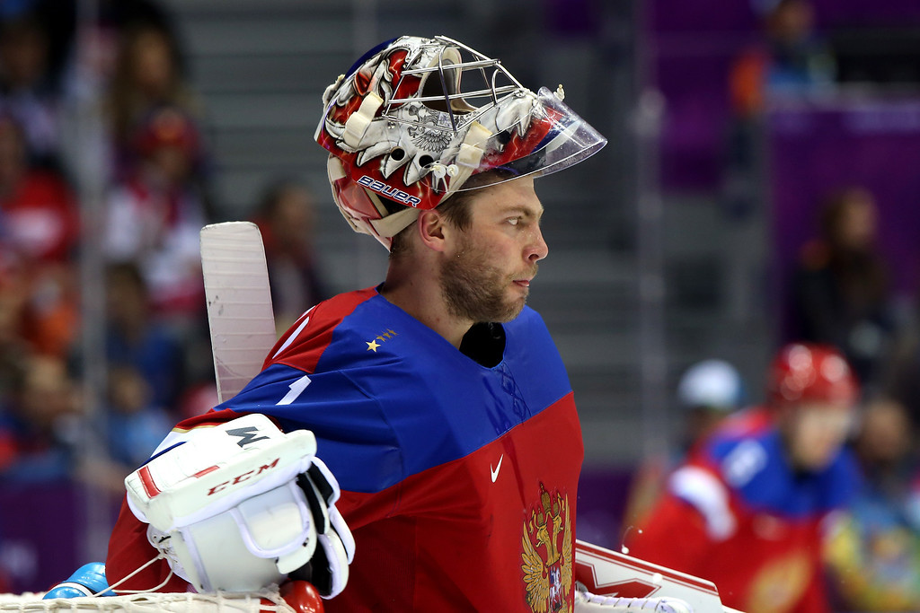 . Semyon Varlamov #1 of Russia looks on against Slovakia during the Men\'s Ice Hockey Preliminary Round Group A game on day nine of the Sochi 2014 Winter Olympics at Bolshoy Ice Dome on February 16, 2014 in Sochi, Russia.  (Photo by Bruce Bennett/Getty Images)