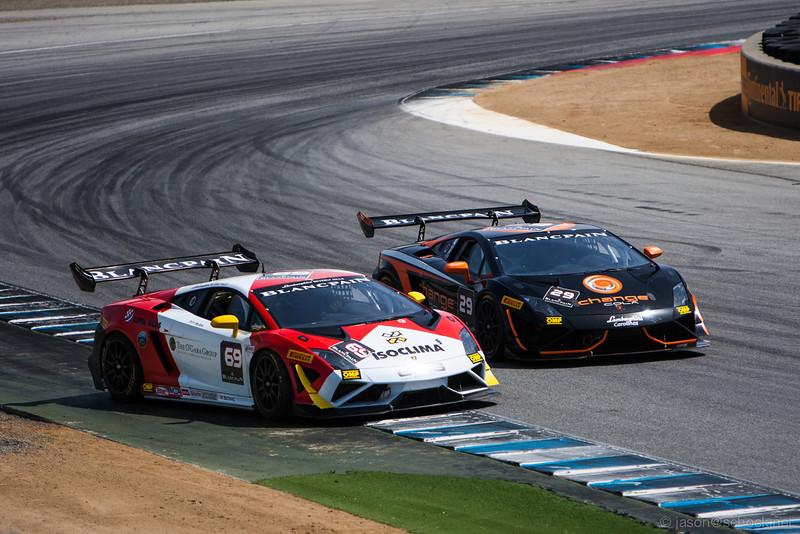 The #69 Lamborghini gets loose while the #29 car leaves little room.