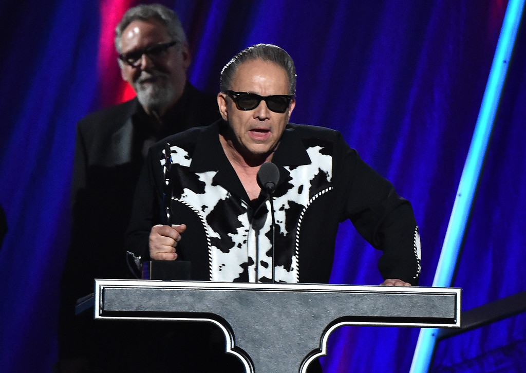 . Jimmie Vaughan speaks on behalf of inductee Stevie Ray Vaughan onstage during the 30th Annual Rock And Roll Hall Of Fame Induction Ceremony at Public Hall on April 18, 2015 in Cleveland, Ohio.  (Photo by Mike Coppola/Getty Images)