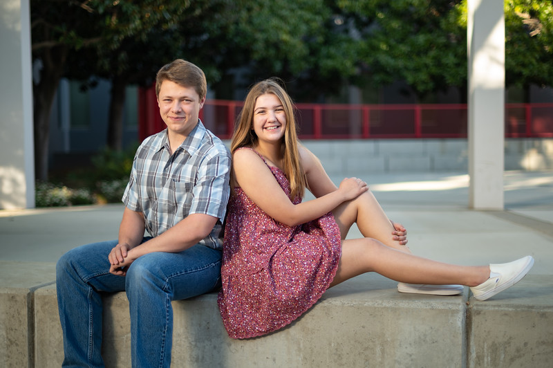 Cole Korte (left), a senior at Chico High School, and Kayla Phillips (right) a senior at CORE Butte High School take senior photos on Sunday, March 28, 2021 in Chico, Calif. (Jason Halley/Photographer/Chico, CA)