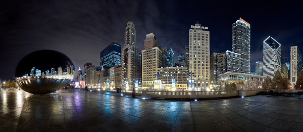 180 degree panorama of the Chicago skyline from Millennium Park.  Available for purchase  2 rows of 15 vertical images for 30 total images stitched together to create this image.