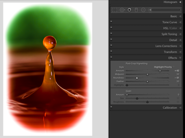 Moving the Roundness Slider to the left, creates rounded edges as Vignette