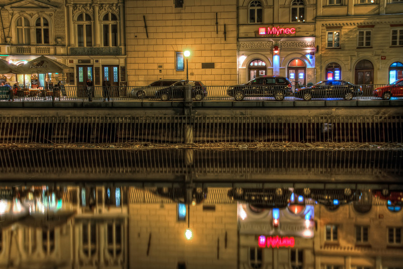 Where did you parked?   I love reflections :) I said it already so many times and I will say it again :). And if I see a reflection, I have to take a photo :) So here is one from the center of Prague, taken sometime late at night :)  HDR from three shots, taken with Canon 450D with Sigma 18-200mm lens, from a tripod.