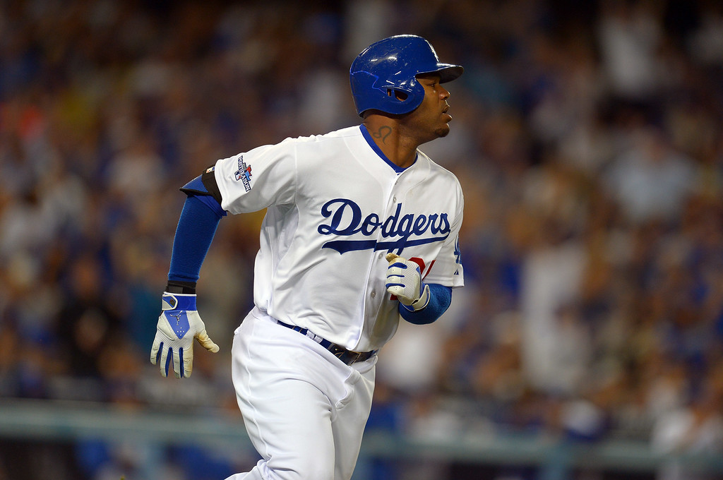 . Dodger\'s Carl Crawford heads for 1st on a single in the 5th inning against the Cardinals  in the 5th against the Cardinals during game 4 of the NLCS at Dodger Stadium Tuesday, October 15, 2013. (Photo by Andy Holzman/Los Angeles Daily News)