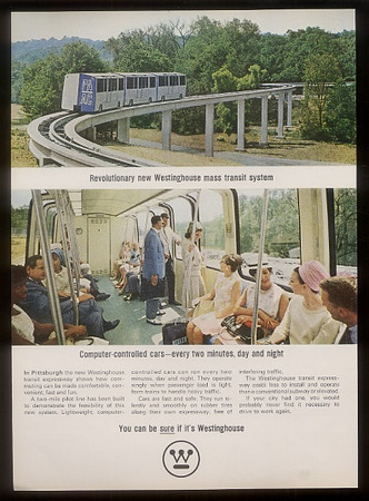 Walt Disney visited Pittsburgh to speak with Westinghouse about the bus transit system of the future, best of bus and monorail Disney was told the Skybus would soon sweep the nation.