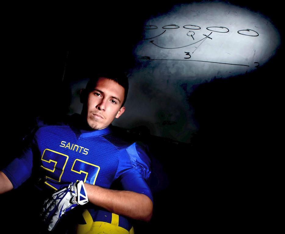 . San Dimas football player and Tribune player of the year, Joseph Mayorga at San Dimas High School in San Dimas, Calif., on Thursday, Dec. 19, 2013.     (Keith Birmingham Pasadena Star-News)