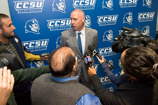 10/17/19 Wesley Bunnell | StaffrrRyan McCarthy was officially named head football coach by CCSU during a press conference on Thursday afternoon. Coach McCarthy is surrounded by media while being interviewed.