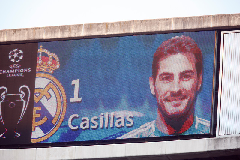 The image of Iker Casillas on the electronic scoreboard before the UEFA Champions League Semifinals game between Real Madrid and FC Barcelona, Bernabeu Stadiumn, Madrid, Spain