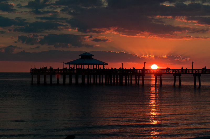 Sunset on the pier, Fort Myers beach, Florida