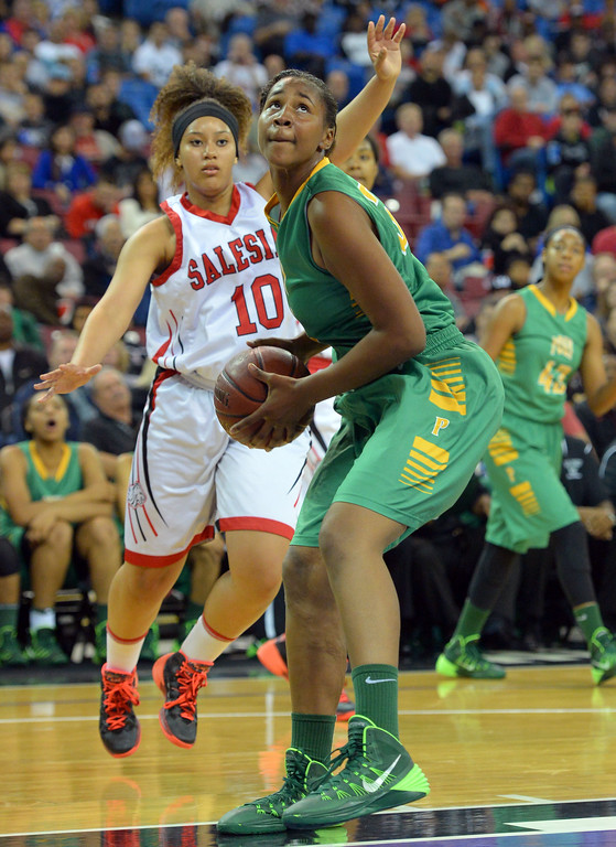 . Poly\'s Ayanna Clark looks for a shot at Sleep Train Arena in Sacramento, CA on Saturday, March 29, 2014. Long Beach Poly vs Salesian in the CIF Open Div girls basketball state final. 2nd half. Poly won 70-52. Clark, a freshman, finished with 19 points. (Photo by Scott Varley, Daily Breeze)