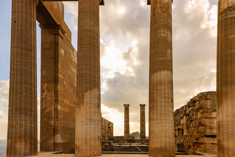 Tall stone columns at Temple of Athena at Rhodes