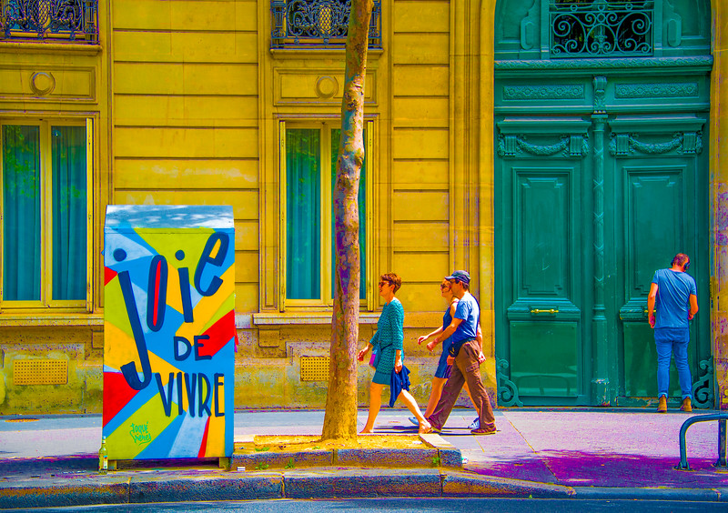 Paris street art by @toquéfréres, adding a little cheer and gaiety to the day - notice the empty bottle! 'Joie de Vivre,' Paris 2017. #paris #streetphotography #streetart #exhuberance #joiedevivre #cityscapes #colorscapes #positivity #yesplease