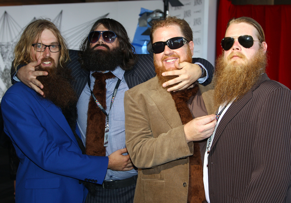 Description of . The group The Beards arrive for the Australian music industry Aria Awards in Sydney, Thursday, Nov. 29, 2012. (AP Photo/Rick Rycroft)