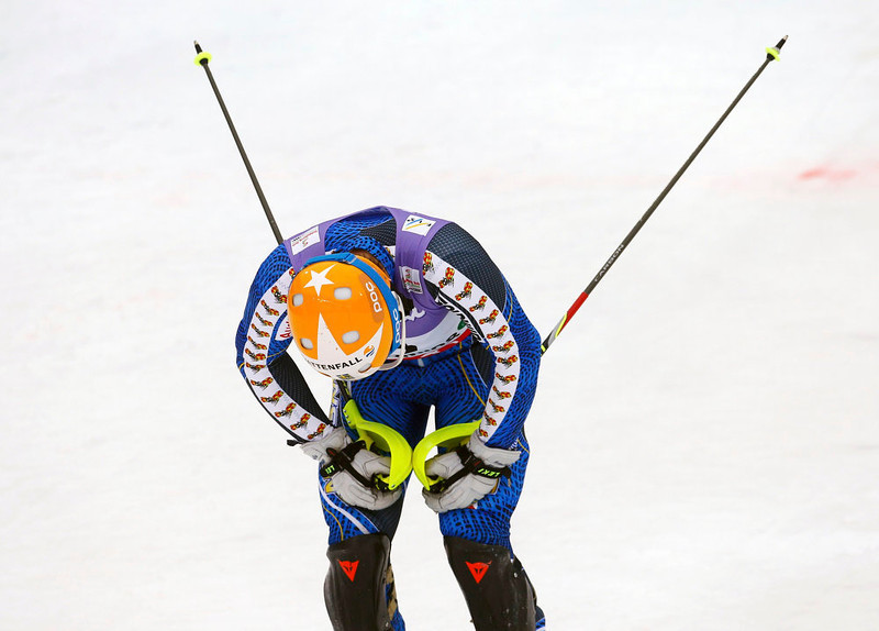. Andre Myhrer of Sweden reacts during the second run of the men\'s Slalom race at the World Alpine Skiing Championships in Schladming February 17, 2013.  REUTERS/Dominic Ebenbichler
