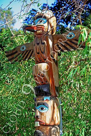 Totem Pole Indian Wood Sculpture Art