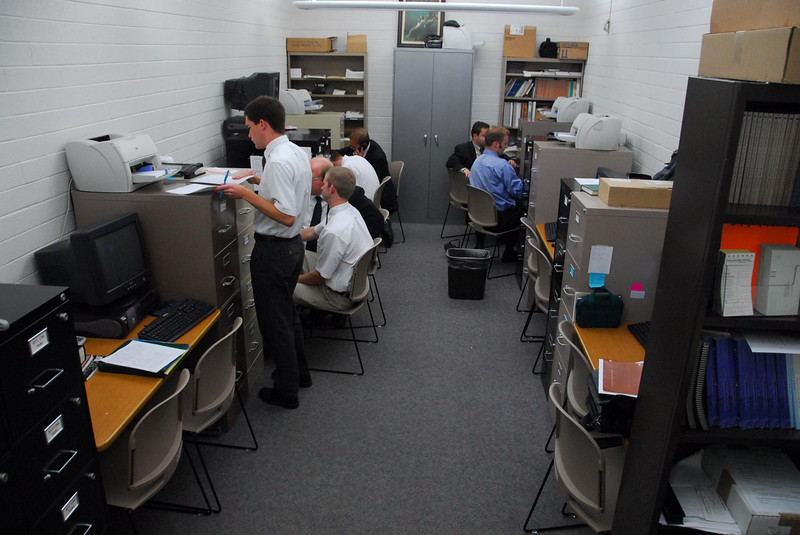 9/16/07 – Our BYU ward meets on campus. This room is the clerk's office. This office is empty now but when it gets busy the room is packed. There are 12 wards that use this room and when you get clerks from just six working on the computers it is hard to move around.