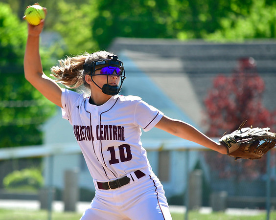 5/8/2019 Mike Orazzi | Staff Bristol Central's Peyton Greger (10) during Wednesday's softball with Platt at Casey Field.