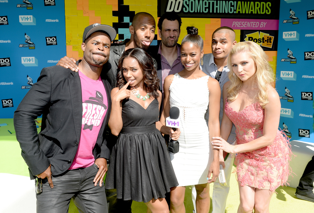. Actor Robert Christopher Riley, actress Logan Browning, actor McKinley Freeman, producer James LaRosa, actress Taylour Paige, actor/rapper Jonathan \'Lil J\' McDaniel, and actress Katherine Bailess arrives at the DoSomething.org and VH1\'s 2013 Do Something Awards at Avalon on July 31, 2013 in Hollywood, California.  (Photo by Michael Buckner/Getty Images for VH1)