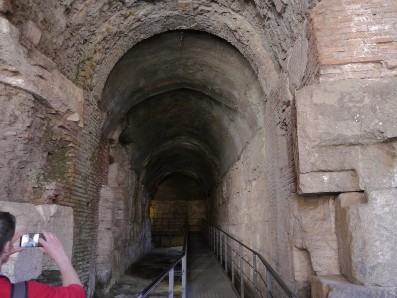 This alley/room is where boats were stored for naval battles in the Colosseum.