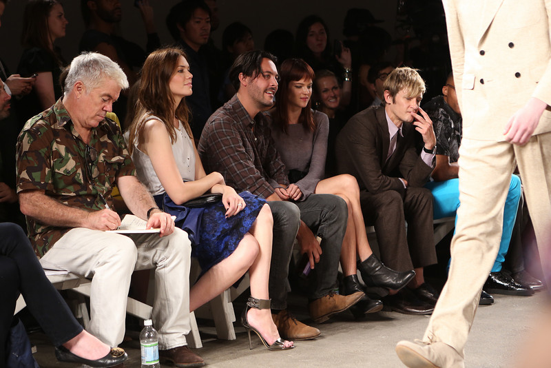 NEW YORK, NY - SEPTEMBER 07:  (L-R) Editor-at-large of Style.com Tim Blanks, actress / singer Mandy Moore, actor Jack Huston, model Shannan Click and actor Gabriel Mann attend Billy Reid's spring 2013 fashion show during Mercedes-Benz Fashion Week at Eyebeam on September 7, 2012 in New York City.  (Photo by Chelsea Lauren/Getty Images)