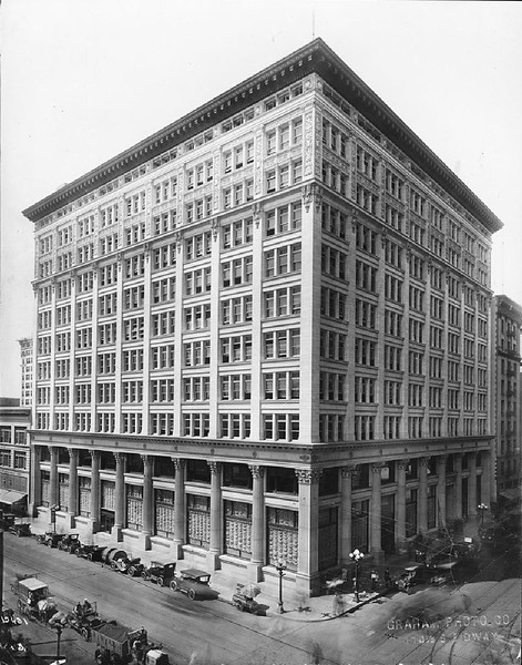 Exterior view of the Van Nuys Building on the corner of 7th Street and Spring Street, ca.1900
