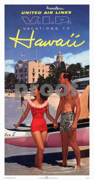 333: 'V.I.P. Vacations' Print or poster, based on United Air Lines Brochure. Ca. 1956. (PROOF watermark will not appear on your print)