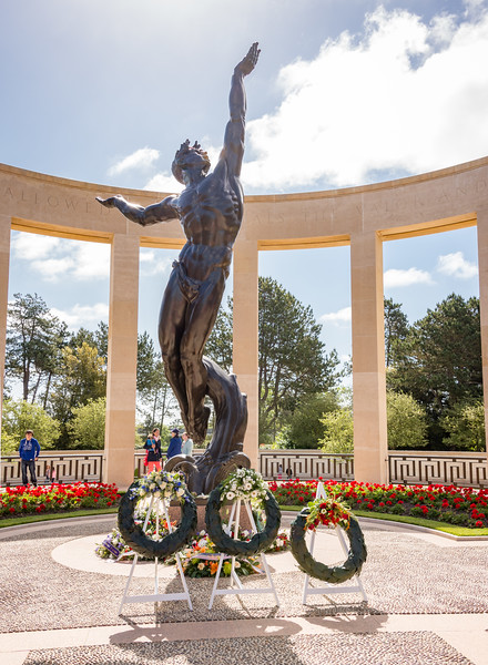 """""""The Spirit of American Youth Rising from the Waves"""" is the focal point of the memorial area.  It faces west toward the cemetery."""