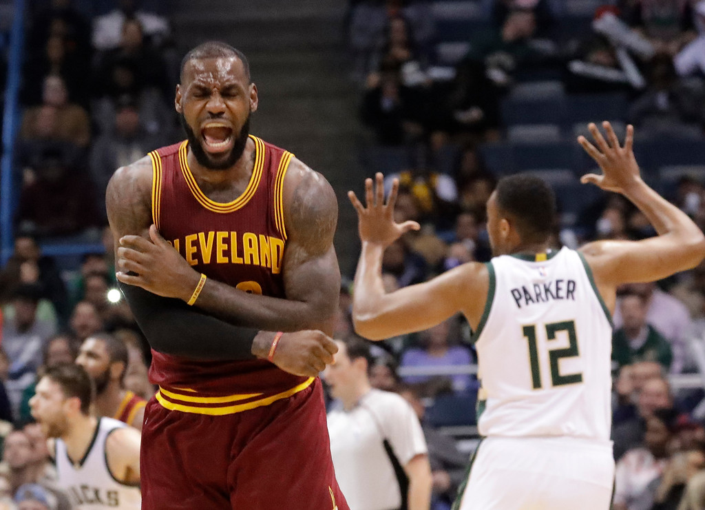 . Cleveland Cavaliers\' LeBron James reacts to no call being called on his shot during the second half of an NBA basketball game against the Milwaukee Bucks Tuesday, Nov. 29, 2016, in Milwaukee. (AP Photo/Morry Gash)