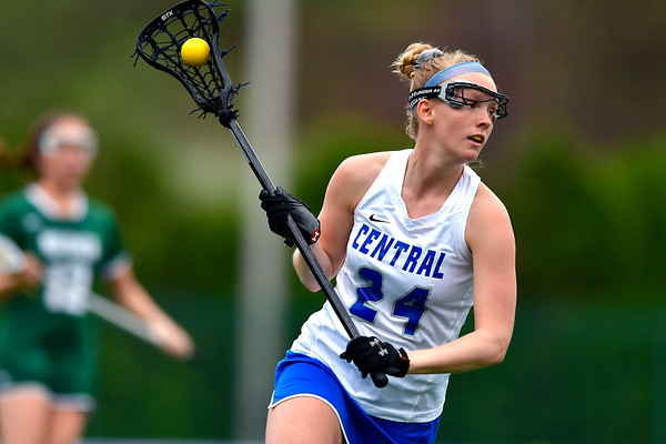 4/20/2019 Mike Orazzi | Staff CCSU Women's Lacrosse's Morgan Sinton (24) against Wagner in New Britain on Saturday.
