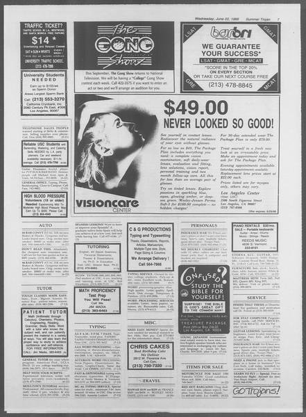 Summer Trojan, Vol. 107, No. 7, June 22, 1988