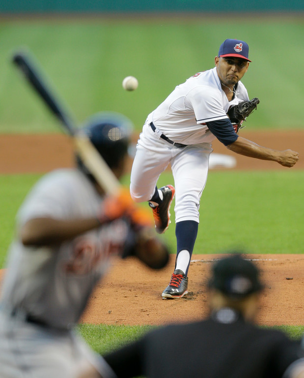 . Cleveland Indians starting pitcher Danny Salazar delivers to Detroit Tigers\' Torii Hunter in the first inning of a baseball game, Wednesday, Sept. 3, 2014, in Cleveland. (AP Photo/Tony Dejak)