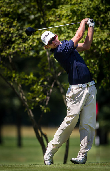 Cameron Smith tees off on 7 during second round medal play at the 2012 Western Amateur Championship at Exmoor Country Club in Highland Park IL. on Wednesday, August 1, 2012. (WGA Photo/Charles Cherney)
