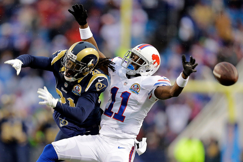 . St. Louis Rams cornerback Janoris Jenkins (21) breaks up a pass intended for Buffalo Bills wide receiver T.J. Graham (11) during the second half of an NFL football game, Sunday, Dec. 9, 2012, in Orchard Park, N.Y. The Rams won 15-12. (AP Photo/Gary Wiepert)