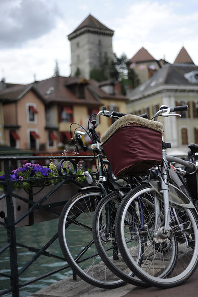 Annecy, France.  Chateau D'Annecy in the background.