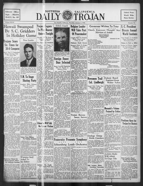 Daily Trojan, Vol. 27, No. 56, January 02, 1936