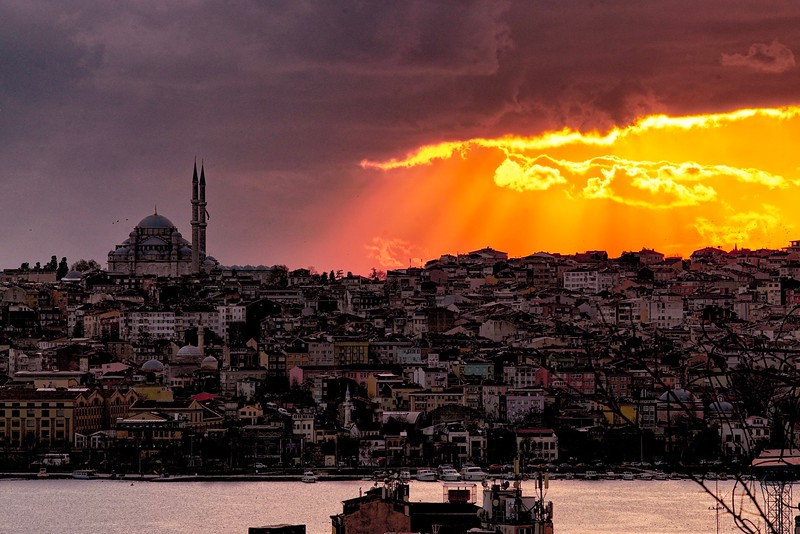 Sunset over blue mosque in Istanbul