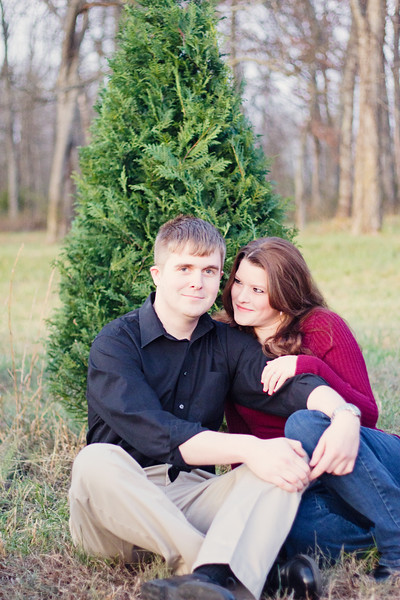 engagement session at a christmas tree farm