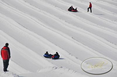Snowtubing and sledding