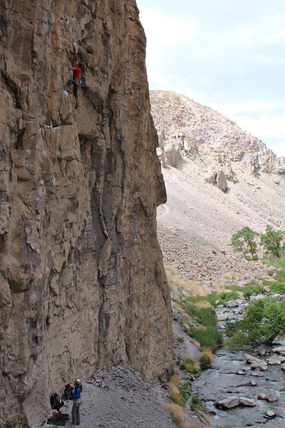 Me climbing a 5.12 in Owens river gorge Photo By Chris Pegelo