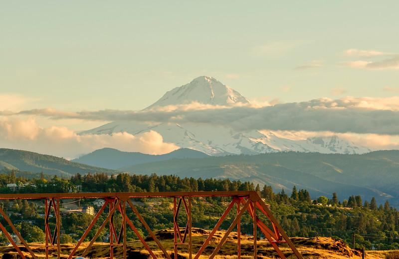 Mt. Hood and a truss railroad bridge