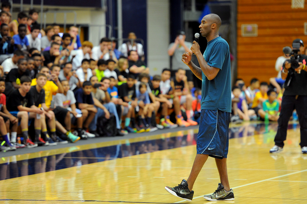 . Kobe Bryant welcomes youngsters to the Kobe Basketball Academy at UCSB, Wednesday, July 9, 2014. The five-day camp focuses on the Flex offense, the Princeton offense and the Triangle offense. (Photo by Michael Owen Baker/Los Angeles Daily News)