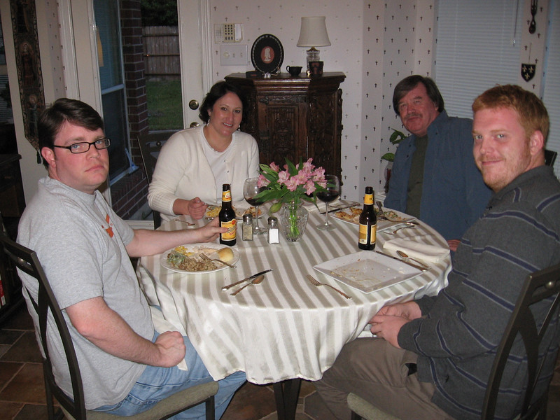Andy Thompson, Leslie Thomas, Otis Futermucker, and his son, Ben at the childrens' table.