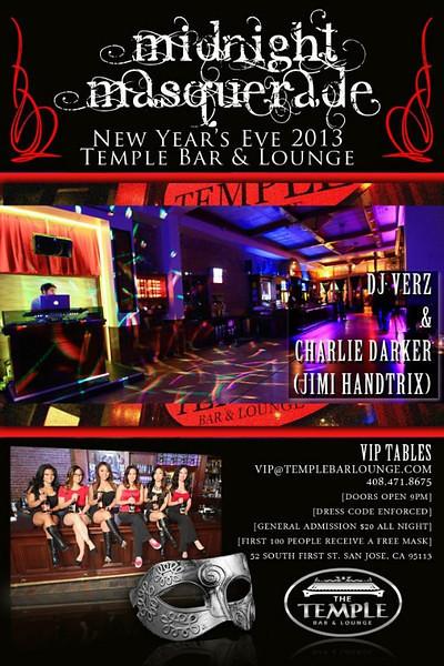 Midnight Masquerade @ Temple Bar & Lounge 12.31.12