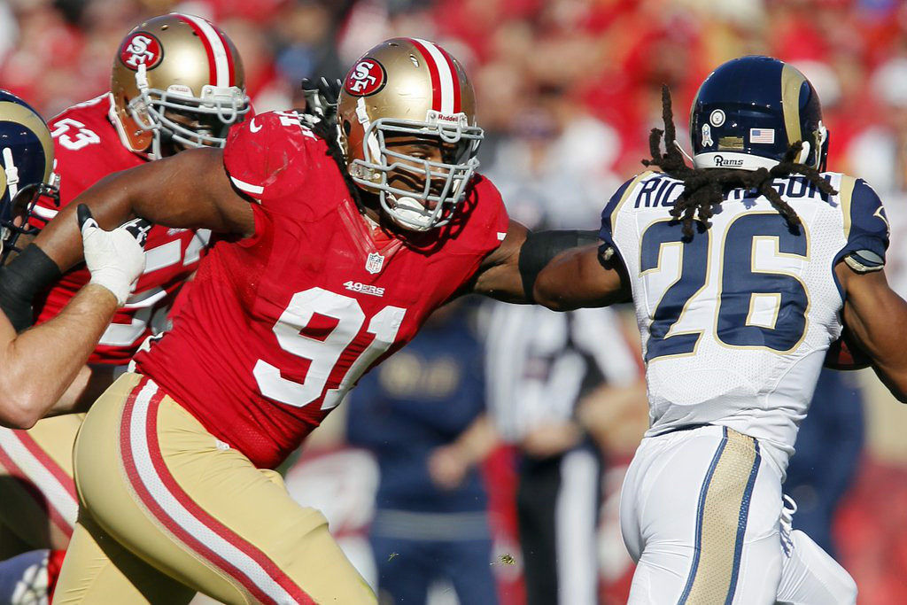". 5. RAY McDONALD <p>When the NFL put in new domestic violence penalties, you KNEW the first test case was probably just around the corner. (unranked) </p><p><b><a href=""http://www.twincities.com/sports/ci_26443383/49er-mcdonald-jailed-alleged-domestic-violence?source=rss\"" target=\""_blank\""> LINK </a></b> </p><p>    (Brian Bahr/Getty Images)</p>"