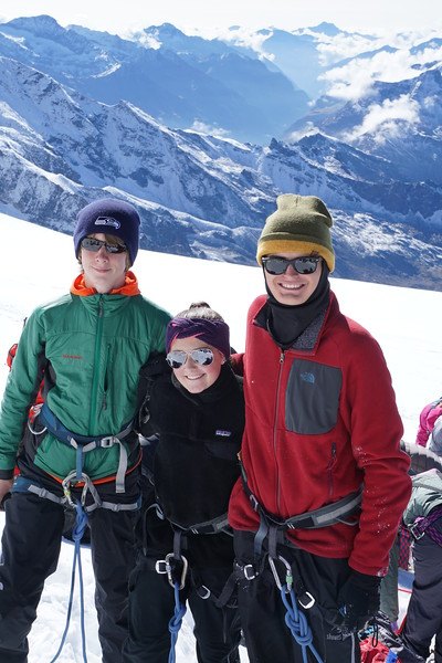 Bennitt, Paige, and Matthew getting ready for the last push to the top of Breithorn