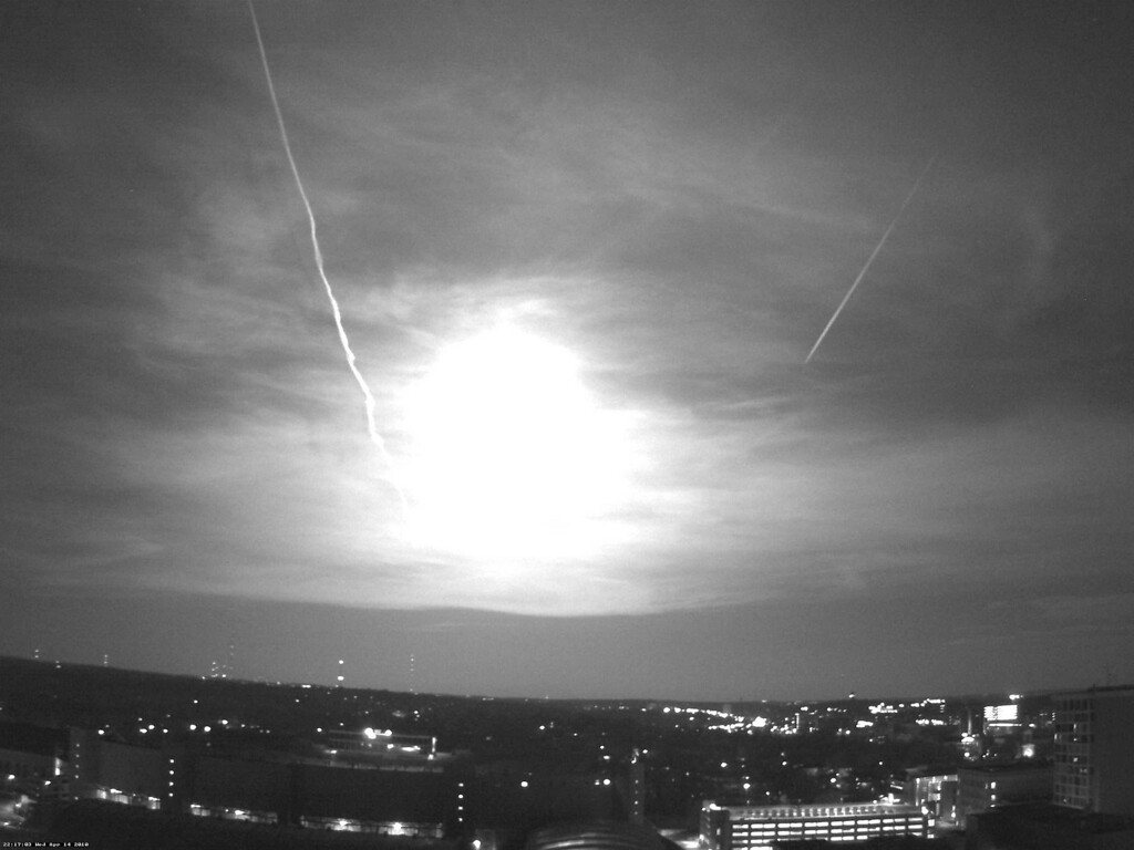 . This black and white photo from a rooftop webcam released Thursday, April 15, 2010, by the University of Wisconsin-Madison Department of Atmospheric and Oceanic Sciences shows a fireball as it passed over Madison, Wis., Wednesday night. National Weather Service meteorologist David Sheets in Davenport, Iowa, says a meteor soared past about 10 p.m. local and appears to have disintegrated as it reached southwest Wisconsin. The meteor, also seen in Missouri, Illinois and Iowa, apparently didn\'t cause any damage. (AP Photo/University of Wisconsin-Madison Department of Atmospheric and Oceanic Sciences)
