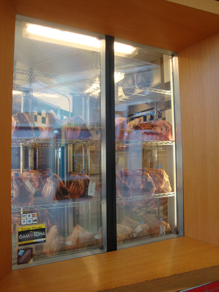On the way through in Newark airport I was truly shocked to see this restaurant proudly advertising its meat, like art specimens on display. I've never seen anything like it, in all my global travels. What on Earth is wrong with those Americans?!?