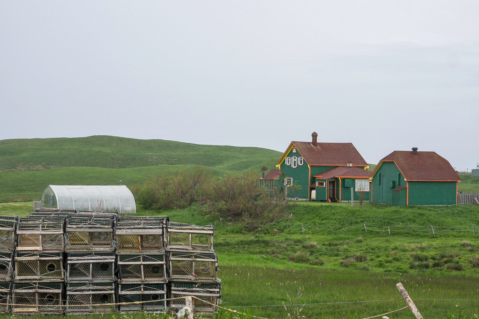 Lobster pots and a green house that almost melts into the grassy hills of Havre-aux-Maisons
